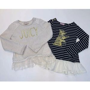 Juicy Couture BUNDLE Beige&Blue Dress Shirt Top-5T